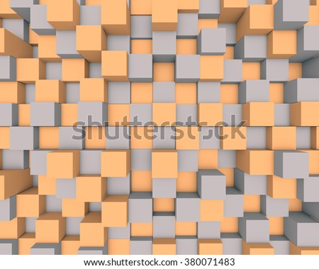 Illustration of abstract mosaic three-dimensional background  - stock photo