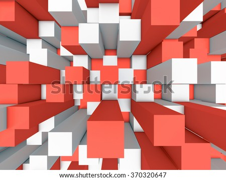 Illustration of abstract mosaic three-dimensional grey and red background  - stock photo