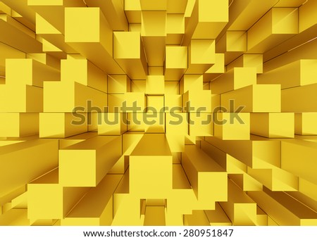 Illustration of abstract mosaic three-dimensional yellow background  - stock photo