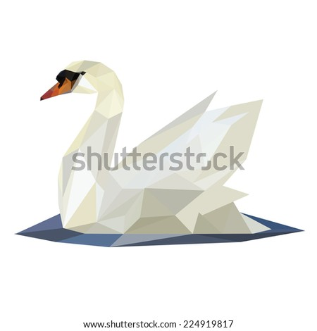 Illustration of abstract origami swan on lake - stock photo