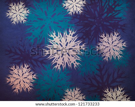 Illustration of abstract vintage snowflake texture background. - stock photo