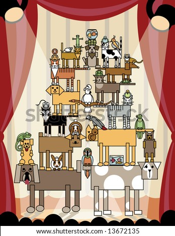 Illustration of acrobatic animals performing on stage. The ultimate in silly pet tricks! Vector also available. - stock photo