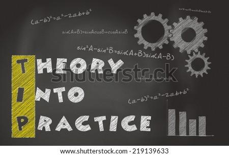 Illustration Of Acronym Of TIP Over Black Chalkboard. Theory Into Practice Over Black Chalkboard - stock photo