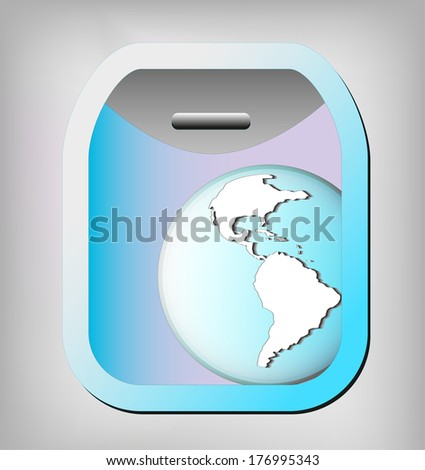 Illustration of airplane window with earth globe. Elements of this image are furnished by NASA  - stock photo