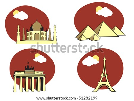 illustration of All Over the World Travel. Includes the icons of Acropolis, The pyramids of Kheops, Tag Mahal and Eiffel tower. - stock photo