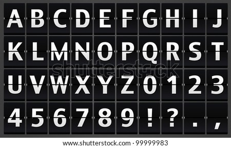 Illustration of Alphabet flipping panel on the black background - stock photo