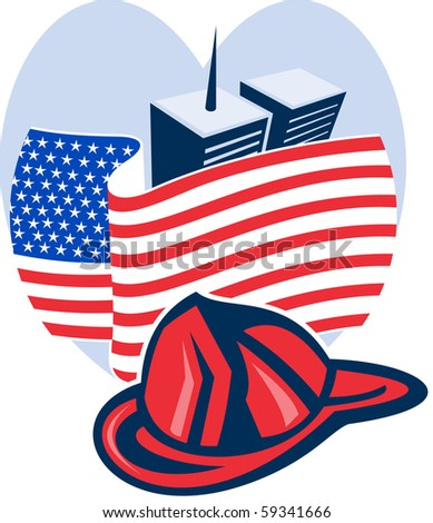 illustration of am unfurled american flag  with world trade center twin tower building in the  background set inside heart - stock photo