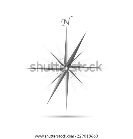 Illustration of an abstract compass design isolated on a white background. - stock photo
