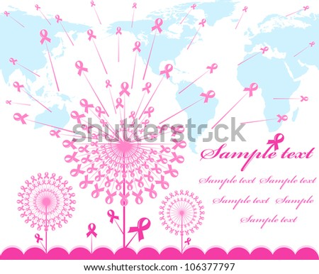 illustration of an abstract pink Support Ribbon  background with map silhouette - stock photo