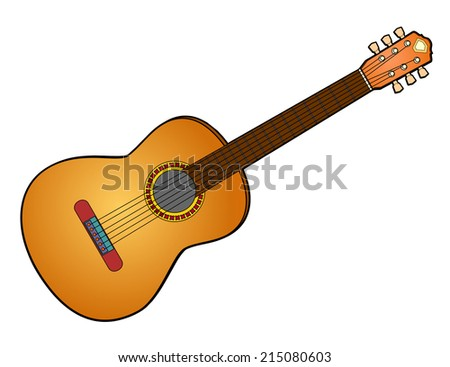 Illustration of an Acoustic Guitar - stock photo