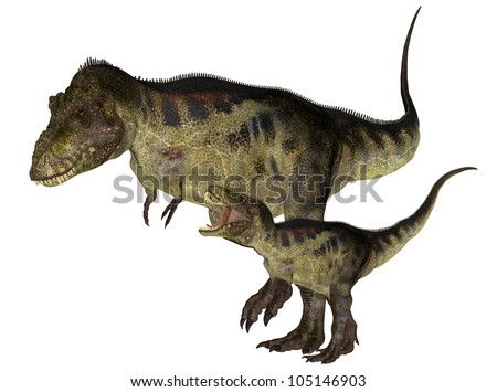 Illustration of an adult and a young Tyrannosaurus (dinosaur species) isolated on a white background - stock photo