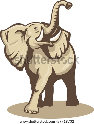 illustration of an african elephant charging attacking done in retro woodcut style - stock photo