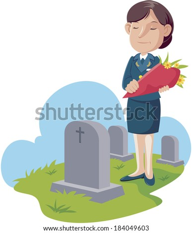 Illustration of an air force soldier visiting the cemetery - stock photo