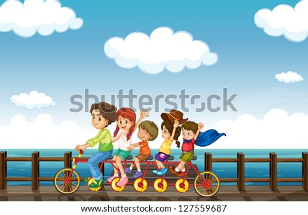 Illustration of an amazing bike that is intented for many people - stock photo