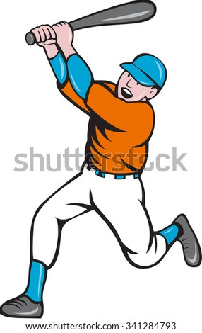Illustration of an american baseball player holding bat batting homer home run set  on isolated white background done in cartoon style.  - stock photo