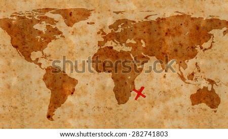 illustration of an ancient treasure map texture - stock photo