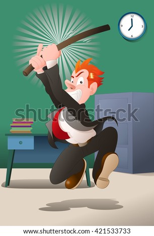 illustration of an angry a businessman hold stick try to hit in office background - stock photo