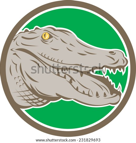 Illustration of an angry alligator crocodile head snout snapping viewed from side set inside circle on isolated background done in retro style.  - stock photo