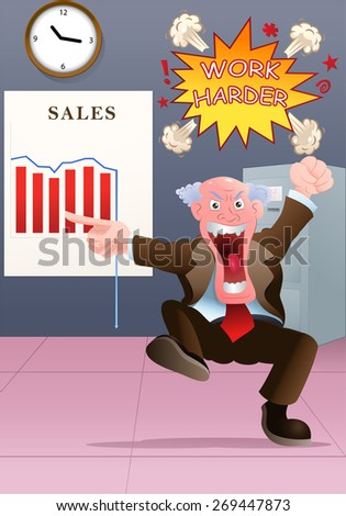 illustration of an angry boss watching bad sales chart - stock photo