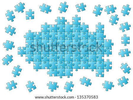 illustration of an blue unfinished puzzle - stock photo