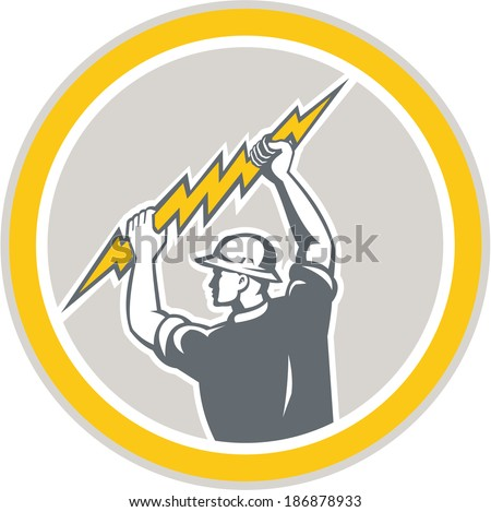 Illustration of an electrician construction worker holding a lightning bolt set inside circle done in retro style on isolated white background. - stock photo