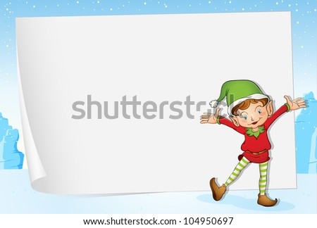 Illustration of an elf on christmas paper background - EPS VECTOR format also available in my portfolio. - stock photo