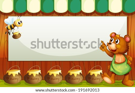 Illustration of an empty rectangular template with a bee and a bear - stock photo