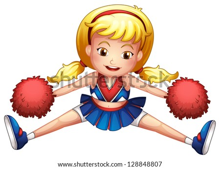 Illustration of an energetic cheerleader on a white background - stock photo