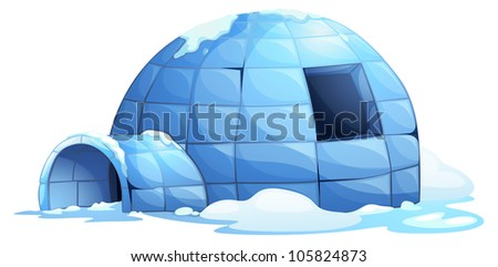 illustration of an igloo on white - stock photo
