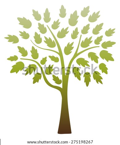 Illustration of an isolated brown and green tree - stock photo