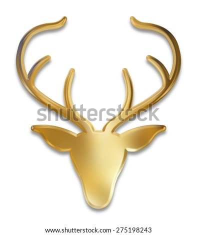 Illustration of an isolated golden deer head - stock photo