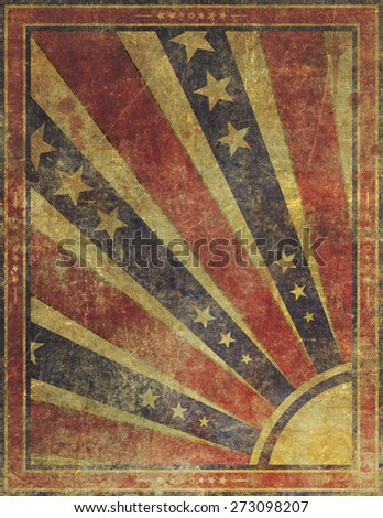 Illustration of an old, highly damaged, faded and worn grunge paper poster background.  - stock photo