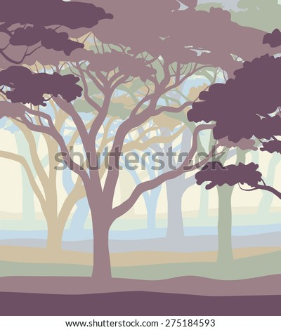 Illustration of an open acacia woodland in pastel colors - stock photo