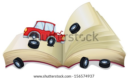 Illustration of an open storybook with a broken car on a white background  - stock photo