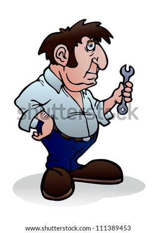 illustration of an optimistic handy man ready to repairing on isolated white background - stock photo
