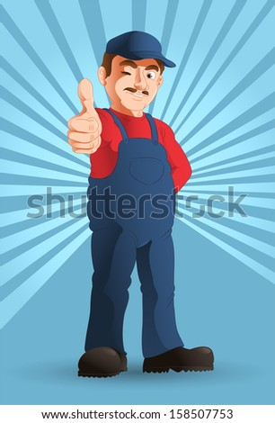 illustration of an optimistic handy man thumb up - stock photo