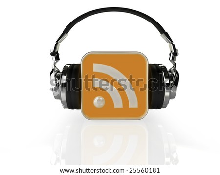 Illustration of an RSS feed logo with headphones - stock photo