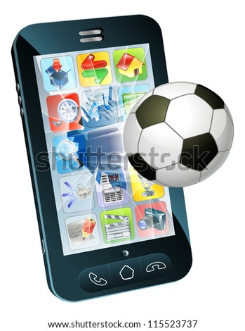 Illustration of an soccer ball flying out of cell phone screen - stock photo