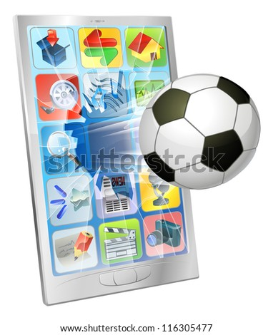 Illustration of an soccer football ball flying out of mobile phone screen - stock photo