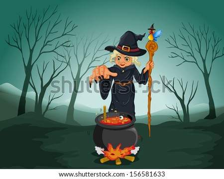 Illustration of an ugly witch holding a cane - stock photo