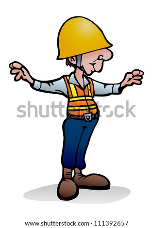 illustration of an under construction worker  over isolated white background - stock photo