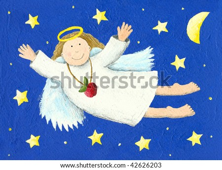 Illustration of Angel in the night - stock photo
