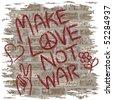 Illustration of anti-war graffiti on a grungy brick wall. - stock photo
