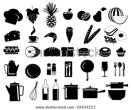 illustration of assorted food icons - stock photo