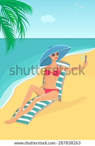 Illustration of attractive woman in blue striped hat, sunglasses and red bikini swimsuit lying in deck chair on the beach and making selfie on smartphone. Sea and palm tree are on the background. - stock photo