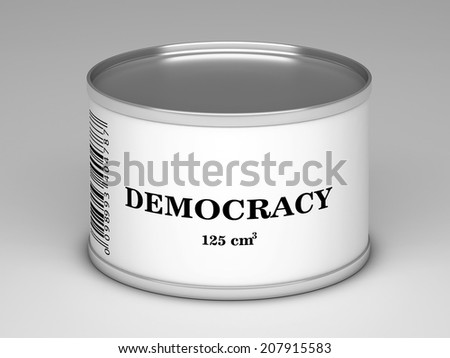 illustration of   bank with  democracy title - stock photo