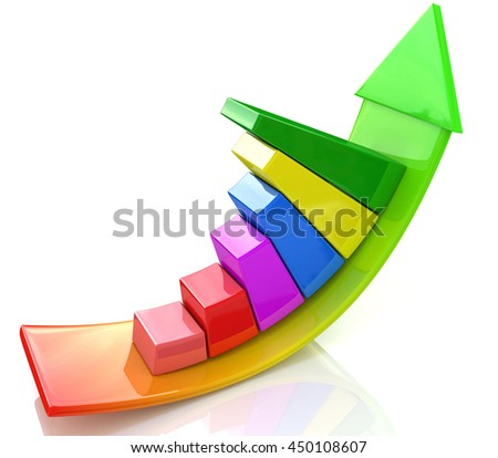 illustration of bar graph with rising arrow in the design of information related to business and economy. 3d illustration - stock photo