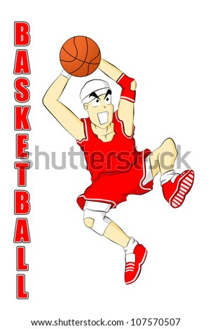 illustration of basketball player cartoon - stock photo