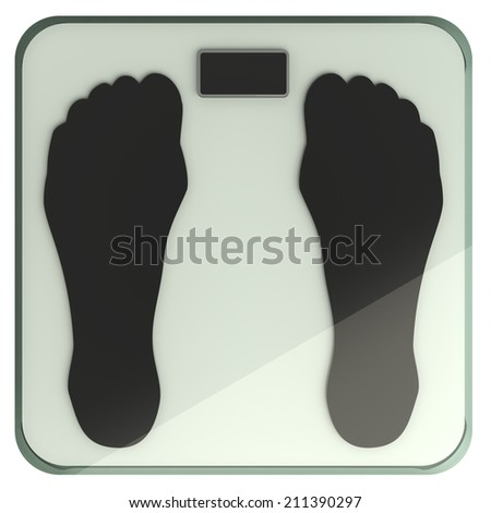 illustration of bathroom weight scale. iisolated on white background. 3d - stock photo