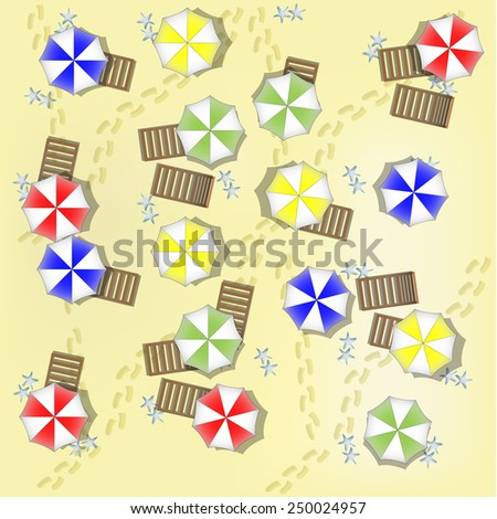Illustration of beach from above with parasols and beds - stock photo